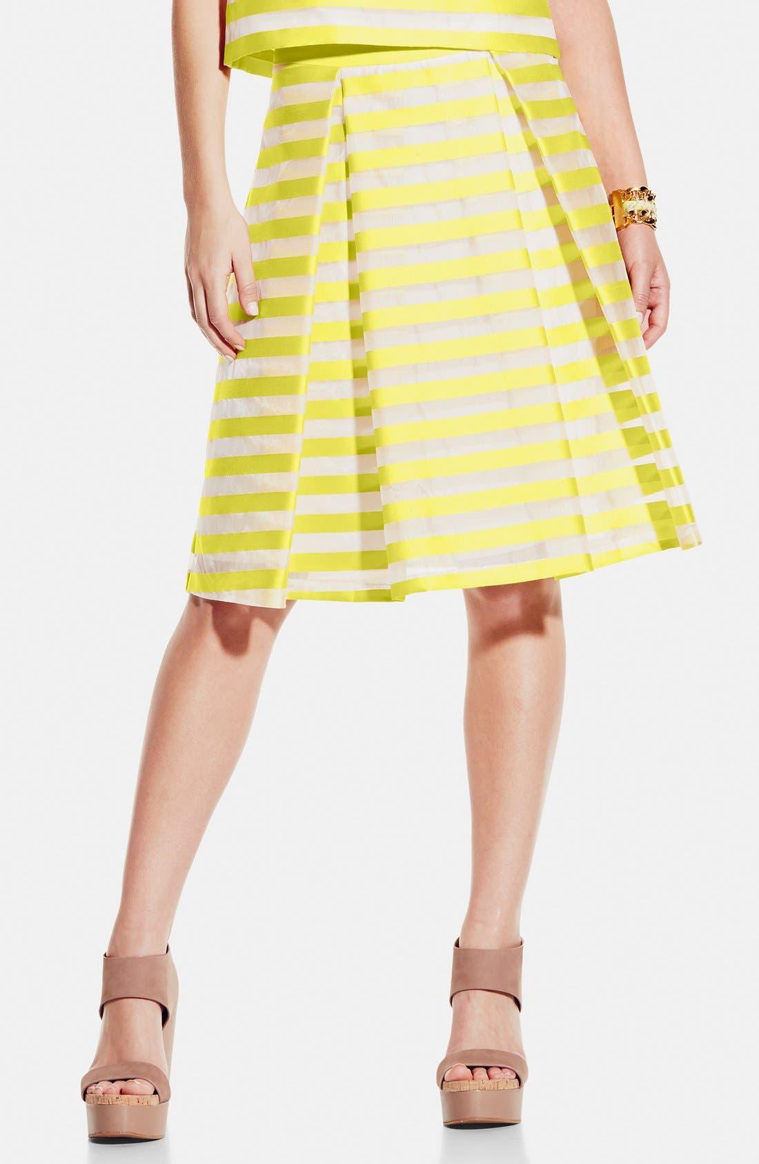 ,                             Stripe Pleat A-Line Skirt,                             Main thumbnail 1, color,                             701