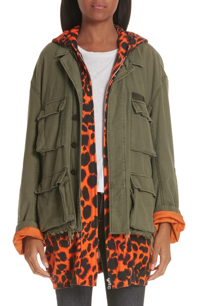 e89d844c79b6 Abu Jacket with Long Leopard Print Hoodie, Main, color, 334