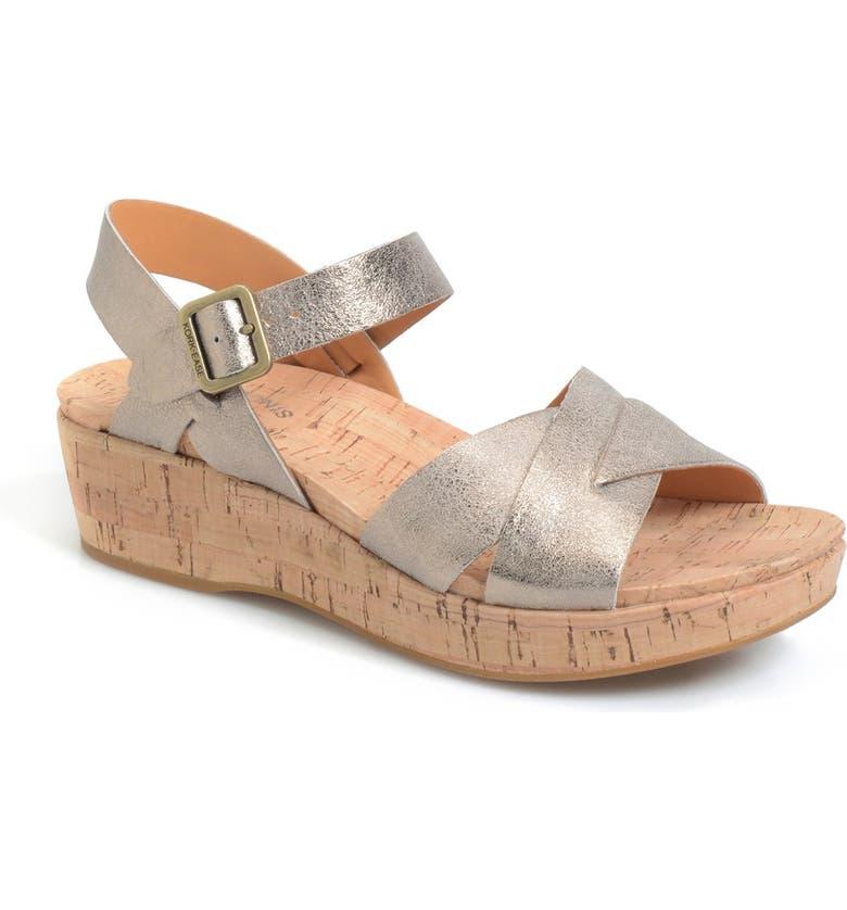 KORK-EASE<SUP>®</SUP> 'Myrna 2.0' Cork Wedge Sandal, Main, color, SOFT GOLD METALLIC