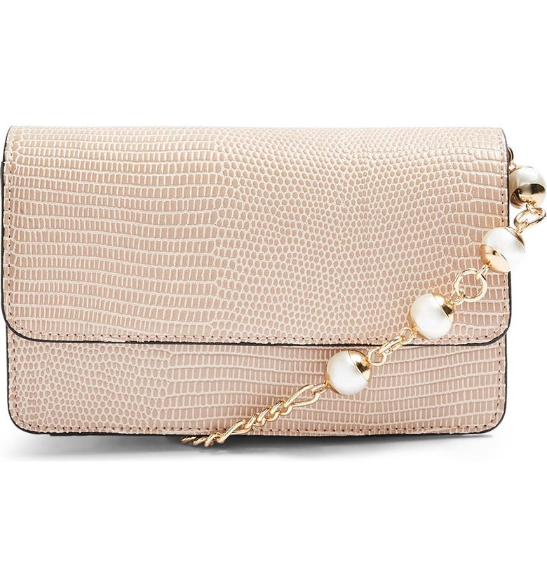 TOPSHOP Peri Imitation Pearl Crossbody Bag, Main, color, NUDE