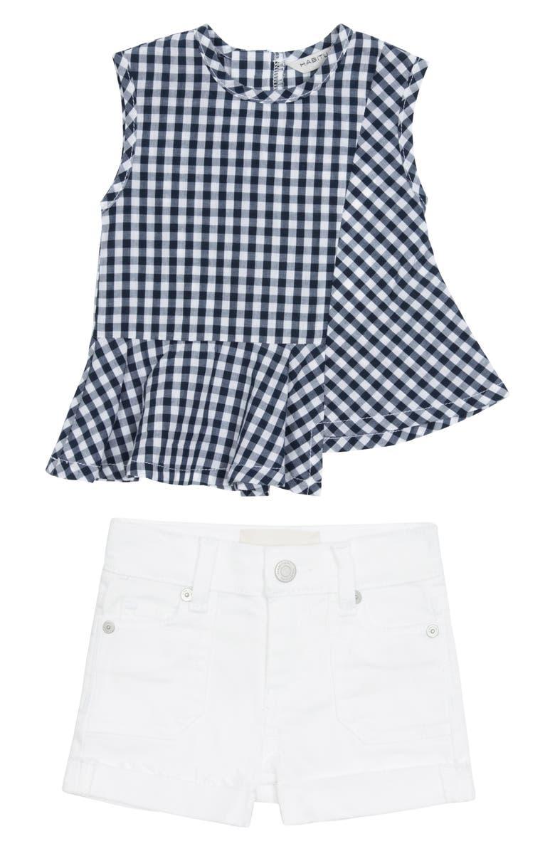 HABITUAL Girl Shane Asymmetrical Top & Shorts Set, Main, color, 410