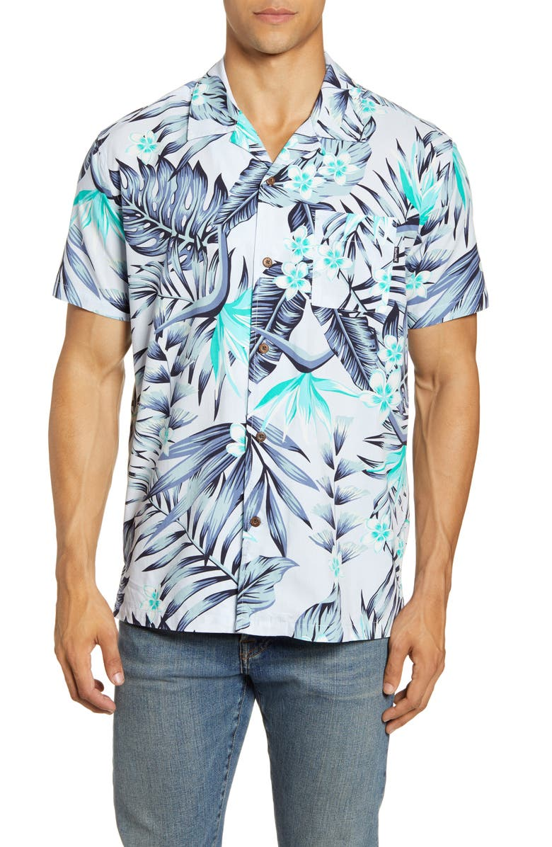 HURLEY Party Wave Short Sleeve Button-Up Camp Shirt, Main, color, 476