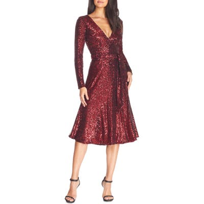 Dress The Population Daphne Long Sleeve Sequin Cocktail Dress, Red