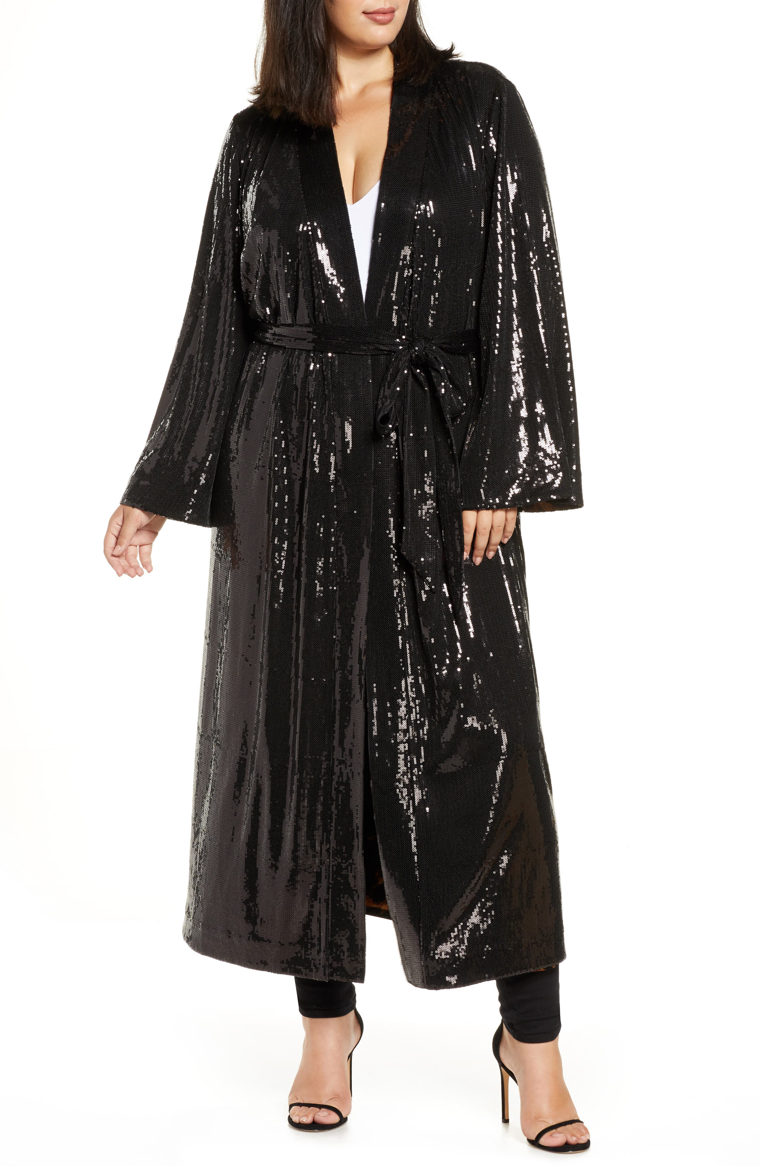 1920s Shawls, Wraps, Scarves, Fur Stole Plus Size Womens Coldesina Sequin Duster $298.00 AT vintagedancer.com