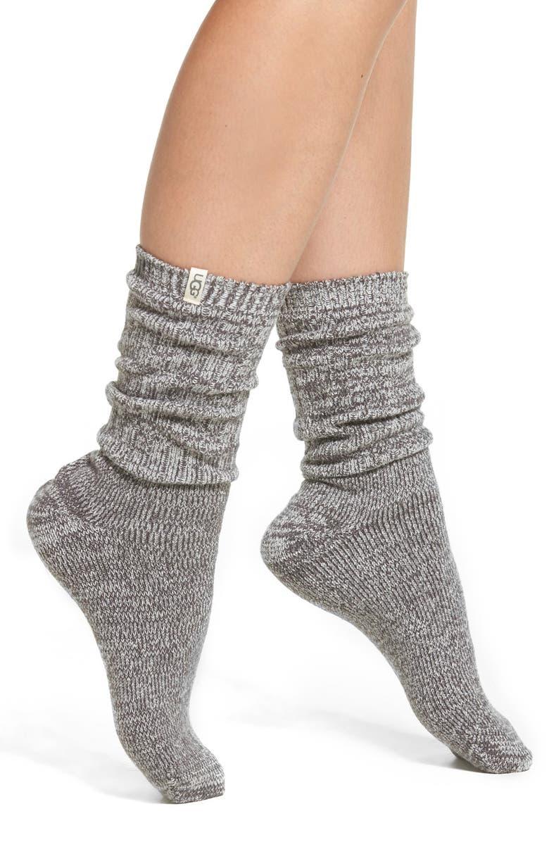 UGG<SUP>®</SUP> Ribbed Crew Socks, Main, color, NIGHTFALL