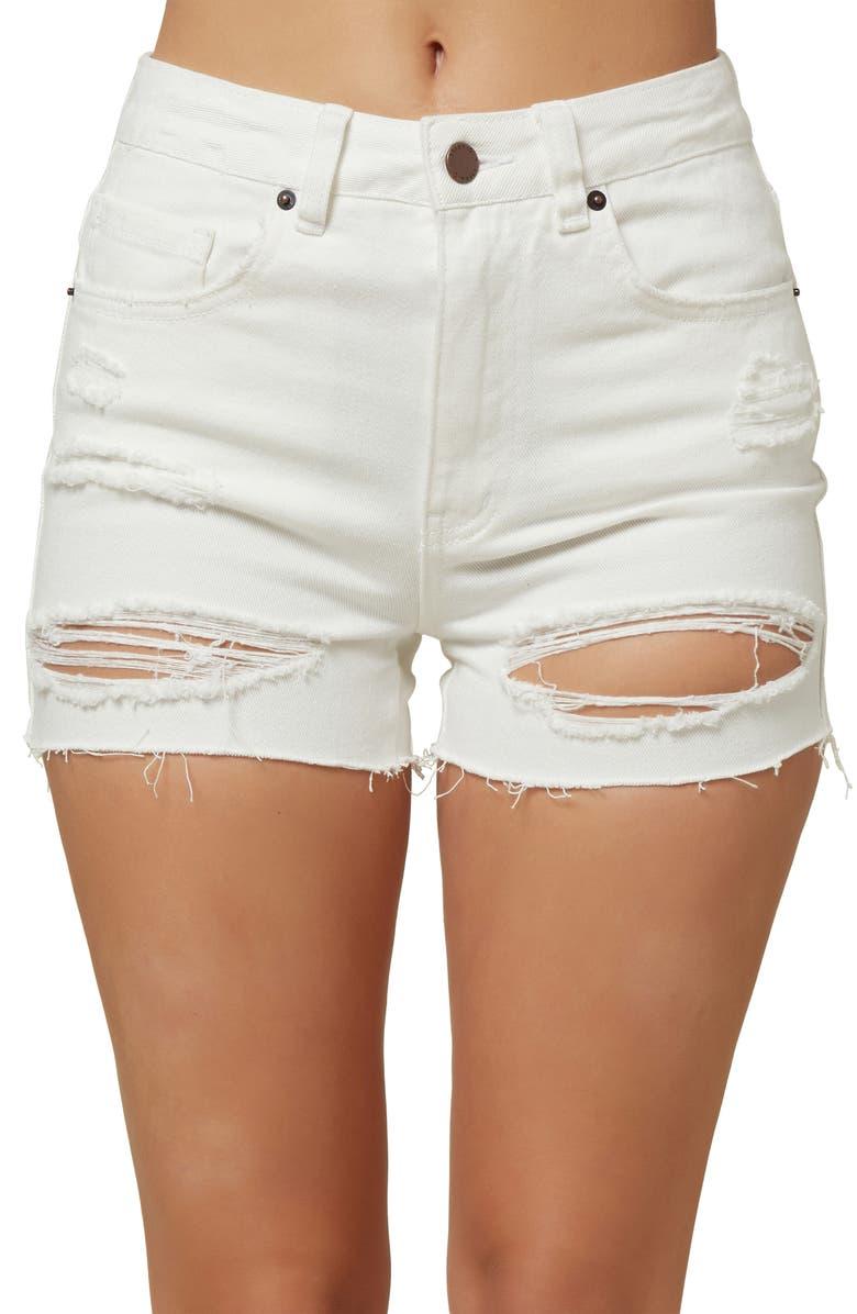 O'NEILL Angus Ripped High Waist Denim Shorts, Main, color, WHITE
