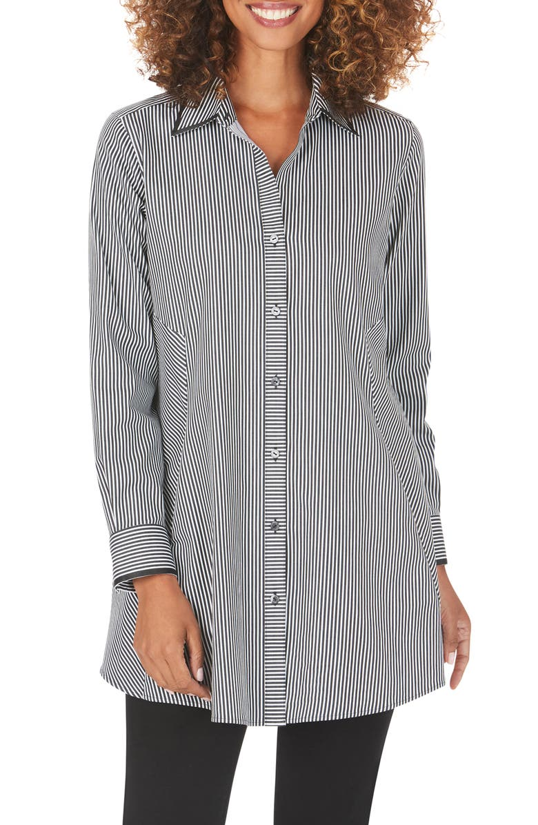 FOXCROFT Cici After Party Stripe Non-Iron Stretch Tunic Shirt, Main, color, BLACK