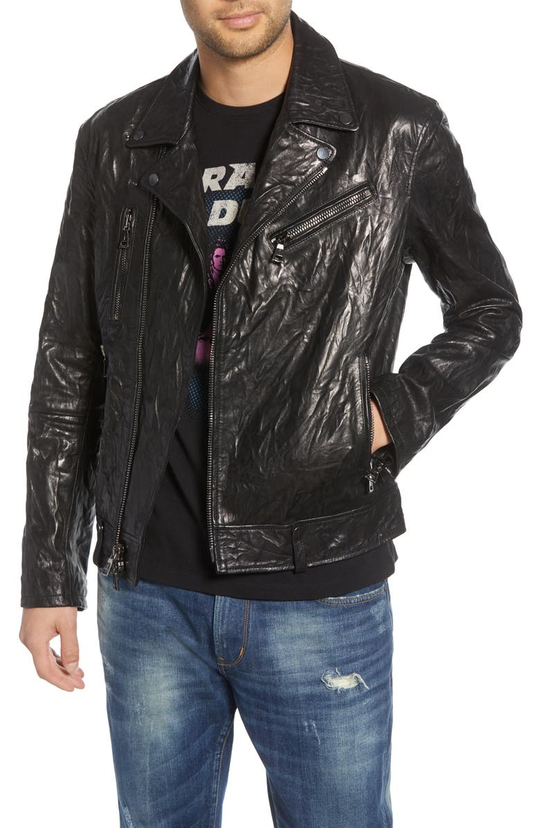 JOHN VARVATOS STAR USA John Varvatos Regular Fit Lambskin Leather Biker Jacket, Main, color, BLACK