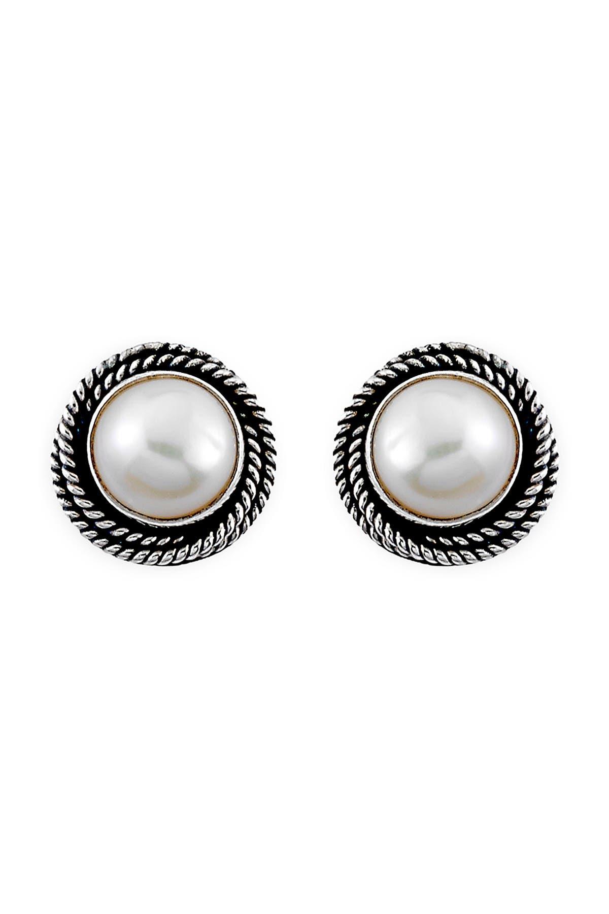 Image of Samuel B Jewelry Sterling Silver 8mm Mabe Pearl Stud Earrings