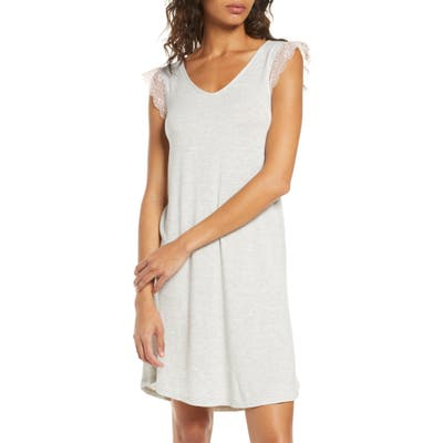 Nordstrom Moonlight Lace Trim Nightgown, Grey