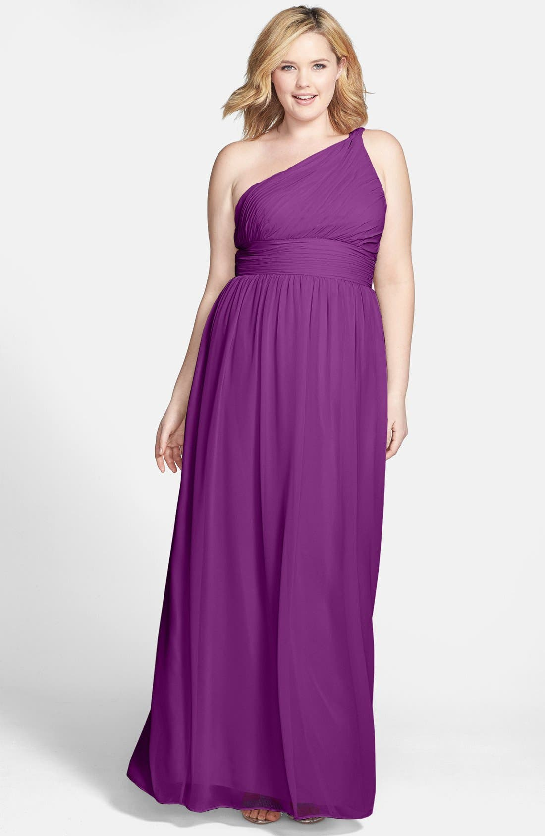 ,                             'Rachel' Ruched One-Shoulder Chiffon Gown,                             Alternate thumbnail 86, color,                             516