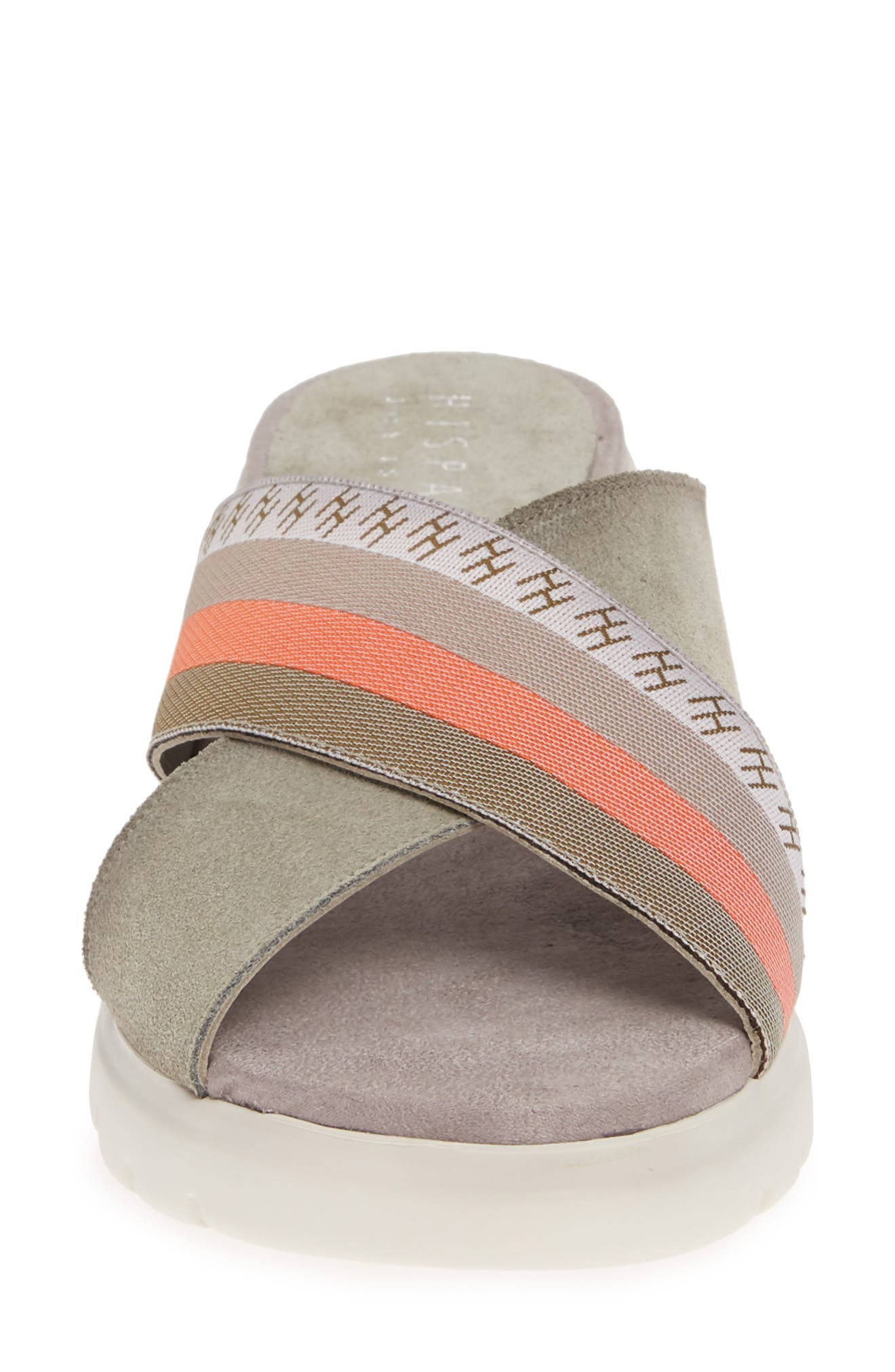 ,                             Magna Wedge Slide Sandal,                             Alternate thumbnail 4, color,                             WHITE FABRIC