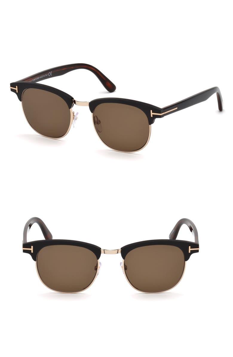 TOM FORD Laurent 51mm Sunglasses, Main, color, MATTE BLACK / ROVIEX