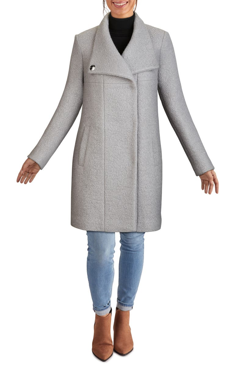 KENNETH COLE NEW YORK Wool Blend Bouclé Coat, Main, color, GLACIER
