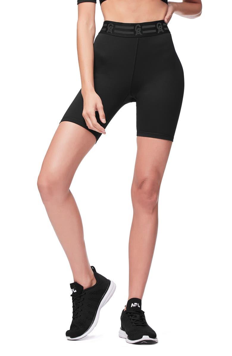 GOOD AMERICAN Icon High Waist Biker Shorts, Main, color, 001