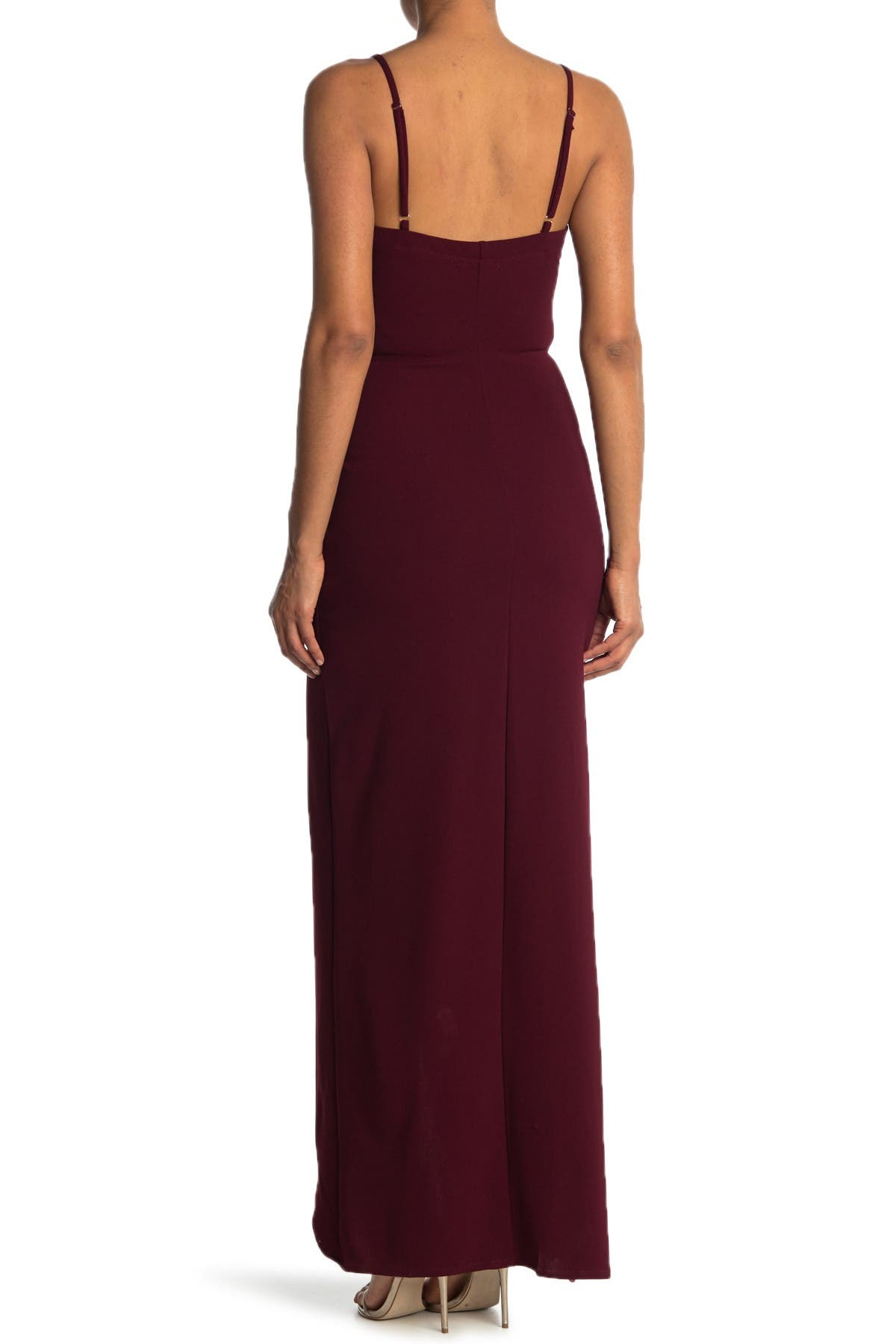 Image of Love, Nickie Lew Cowl Neck Spaghetti Strap Slit Maxi Dress