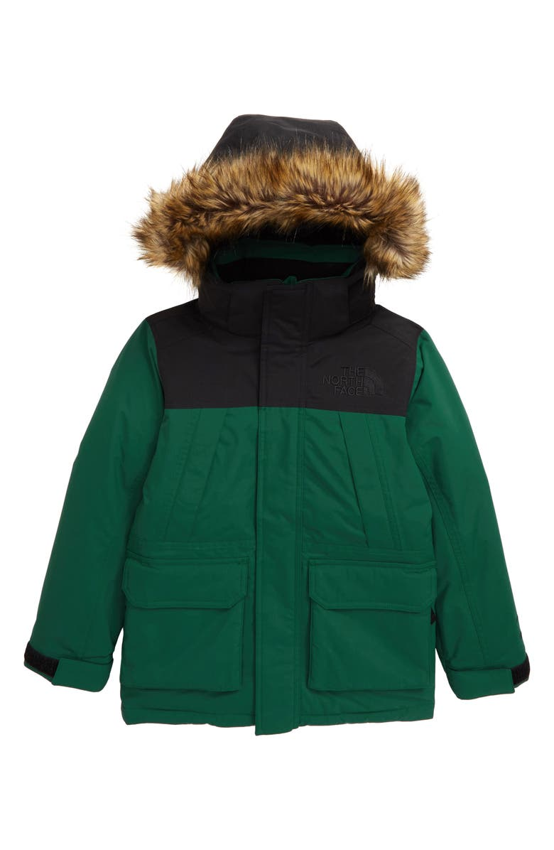 THE NORTH FACE McMurdo Waterproof 550 Fill Power Down Parka with Faux Fur Trim, Main, color, NIGHT GREEN