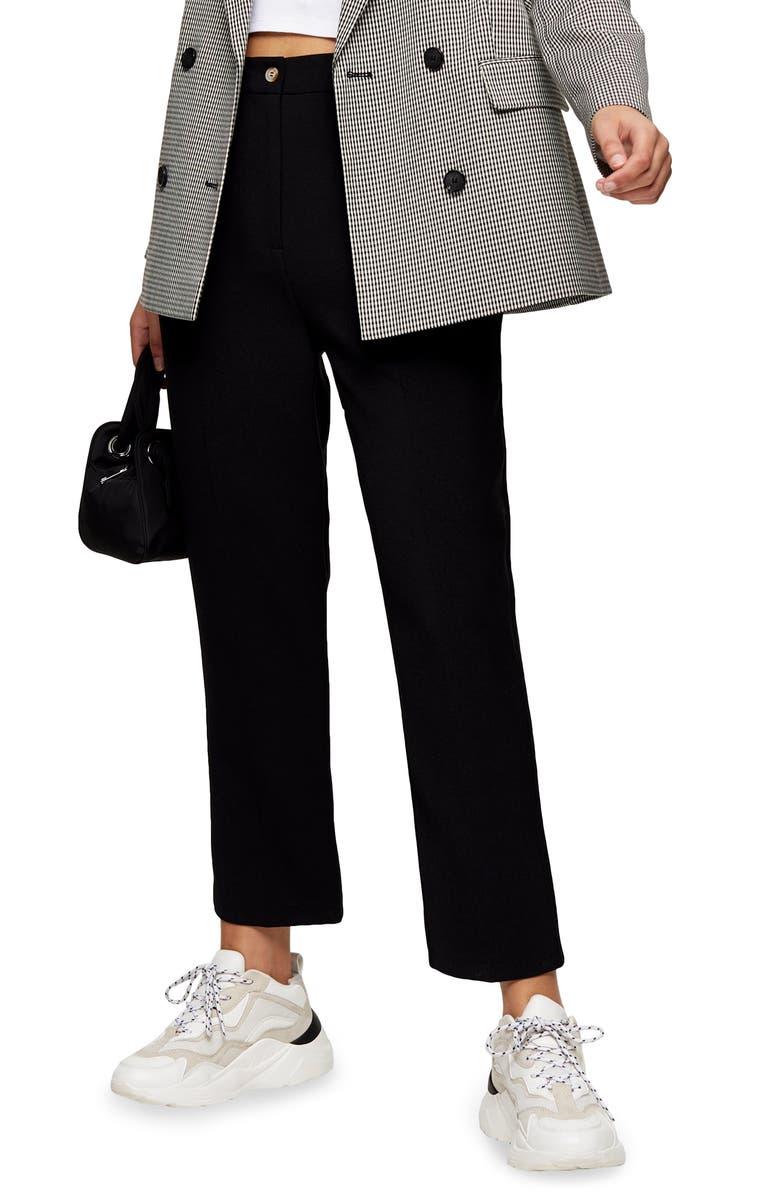 TOPSHOP Straight Leg Crop Trousers, Main, color, BLACK
