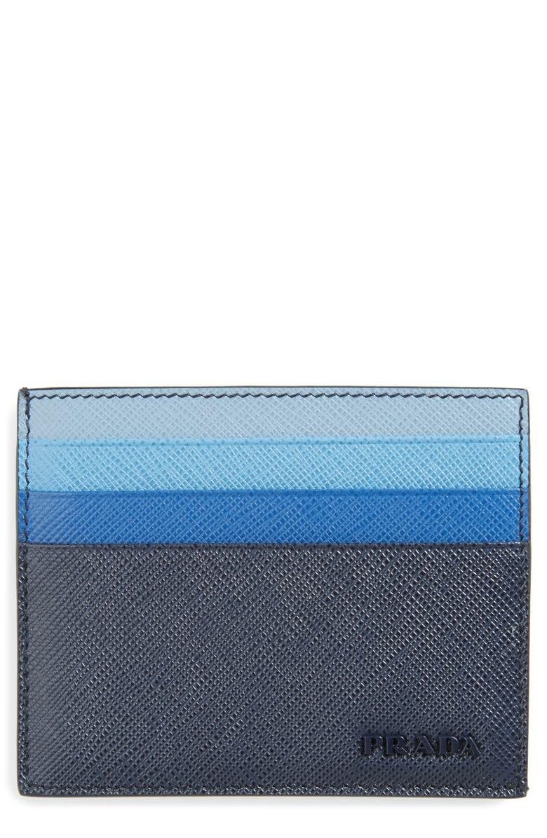 PRADA Multicolor Saffiano Leather Card Case, Main, color, F0216 BALTICO