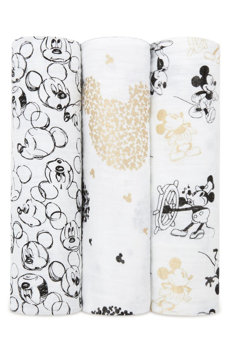 ADEN + ANAIS Disney<sup>®</sup> Mickey's 90th 3-Pack Swaddling Cloths, Main, color, 100