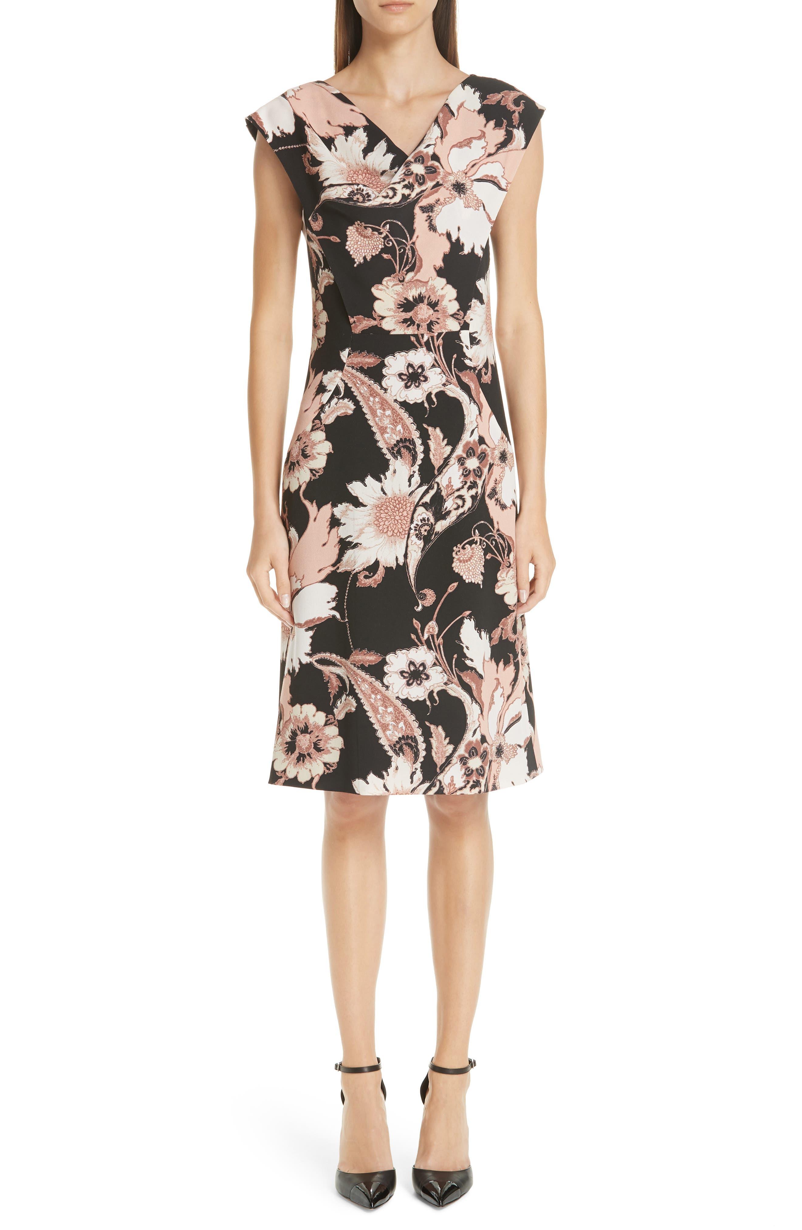 Etro Floral Print Crepe Cady Dress