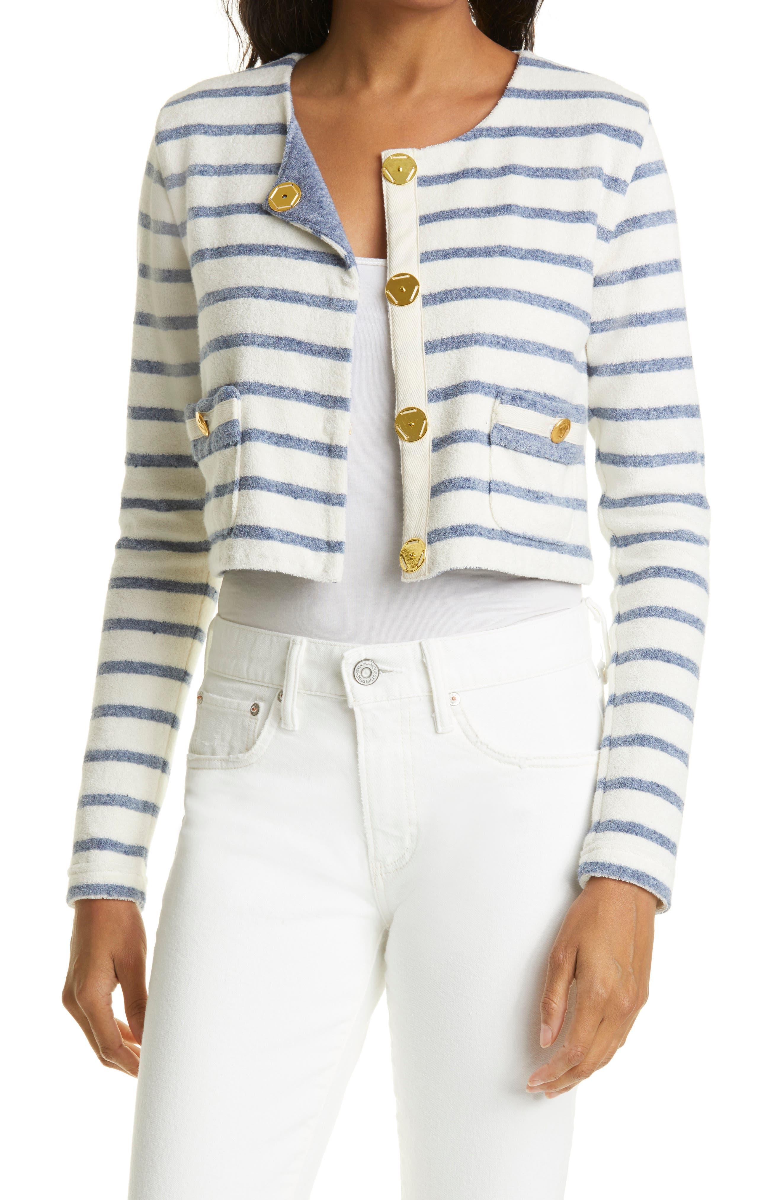 Mariners Stripe Crop Textured Cotton Blend Jacket