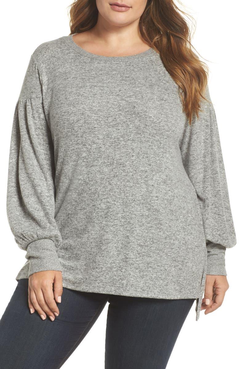 GIBSON Blouson Sleeve Fleece Sweater, Main, color, HEATHER GREY