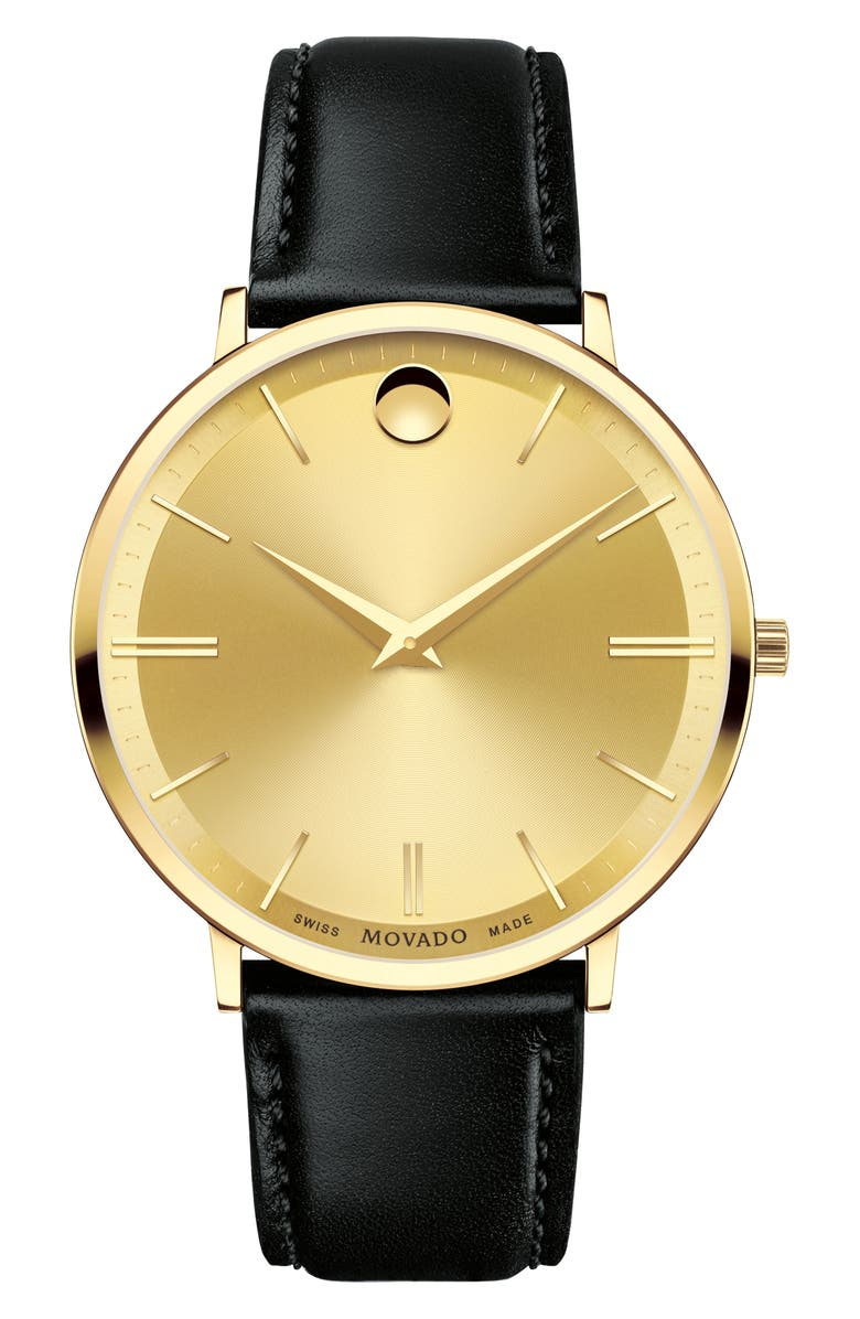 MOVADO 'Ultra Slim' Leather Strap Watch, 40mm, Main, color, 010