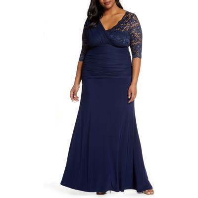 Plus Size Kiyonna Soiree Evening Gown, Blue