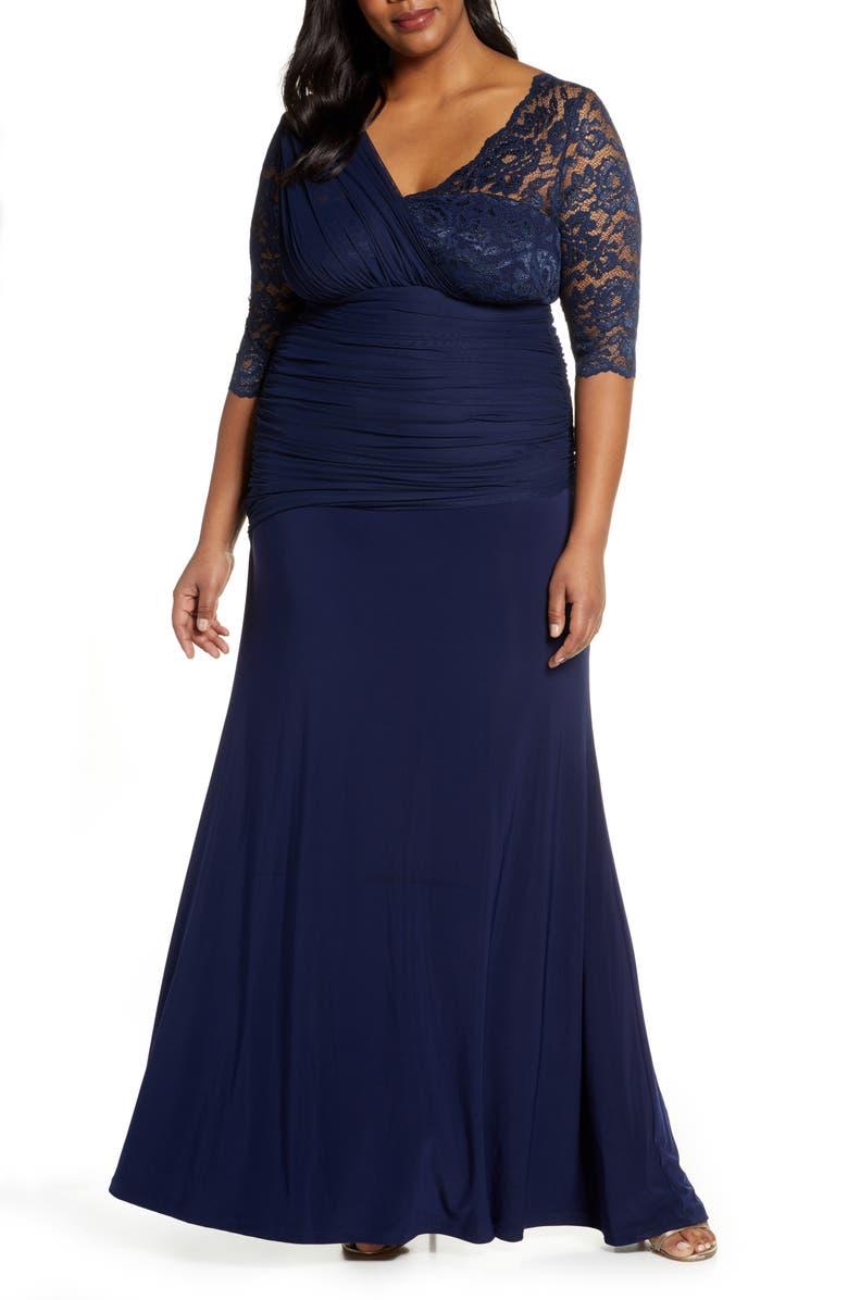KIYONNA Soirée Evening Gown, Main, color, NOCTURNAL NAVY