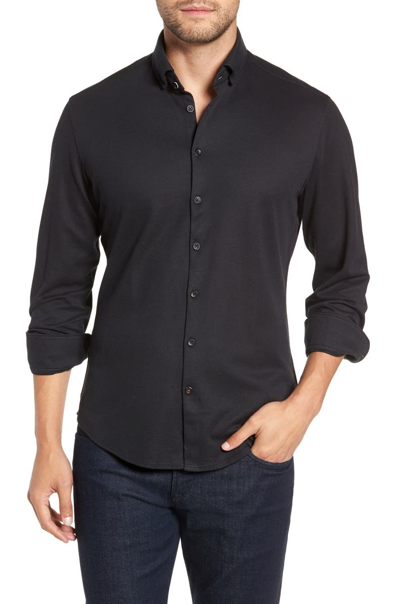 STONE ROSE Regular Fit Knit Shirt, Main, color, BLACK