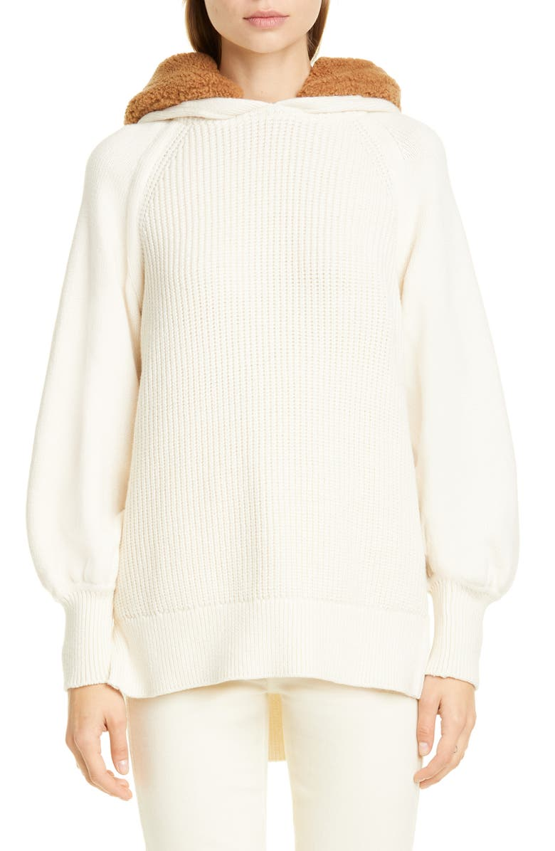ADEAM Angel Hair Hooded Sweater with Faux Fur Trim, Main, color, IVORY
