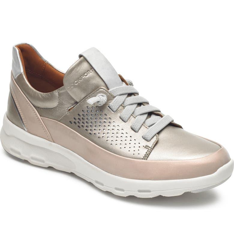 ROCKPORT COBB HILL Let's Walk Sneaker, Main, color, DOVE/ ROSE FABRIC