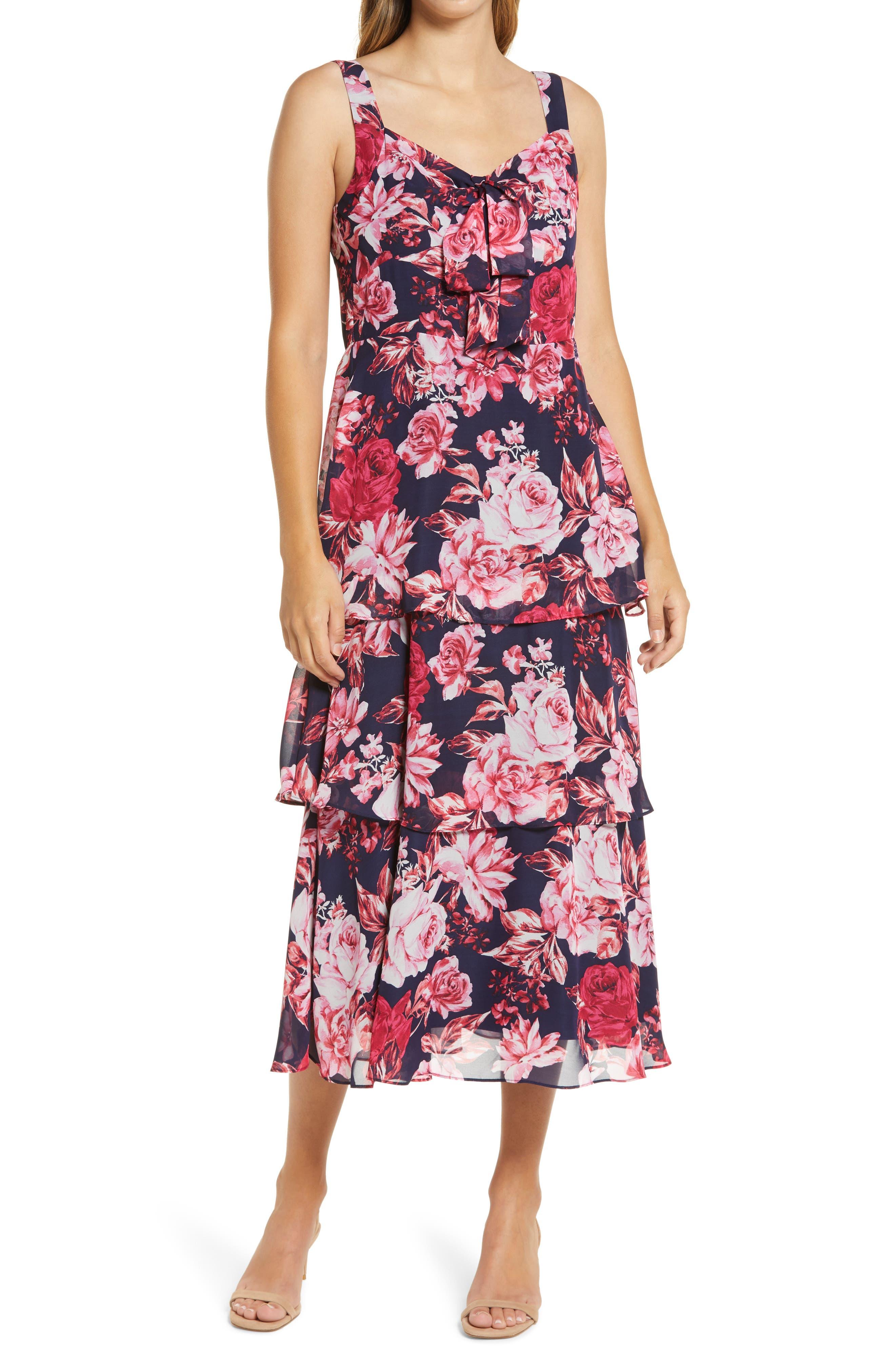 Floral Tiered Chiffon Midi Dress