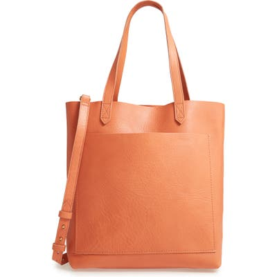 Madewell Medium Leather Transport Tote - Coral