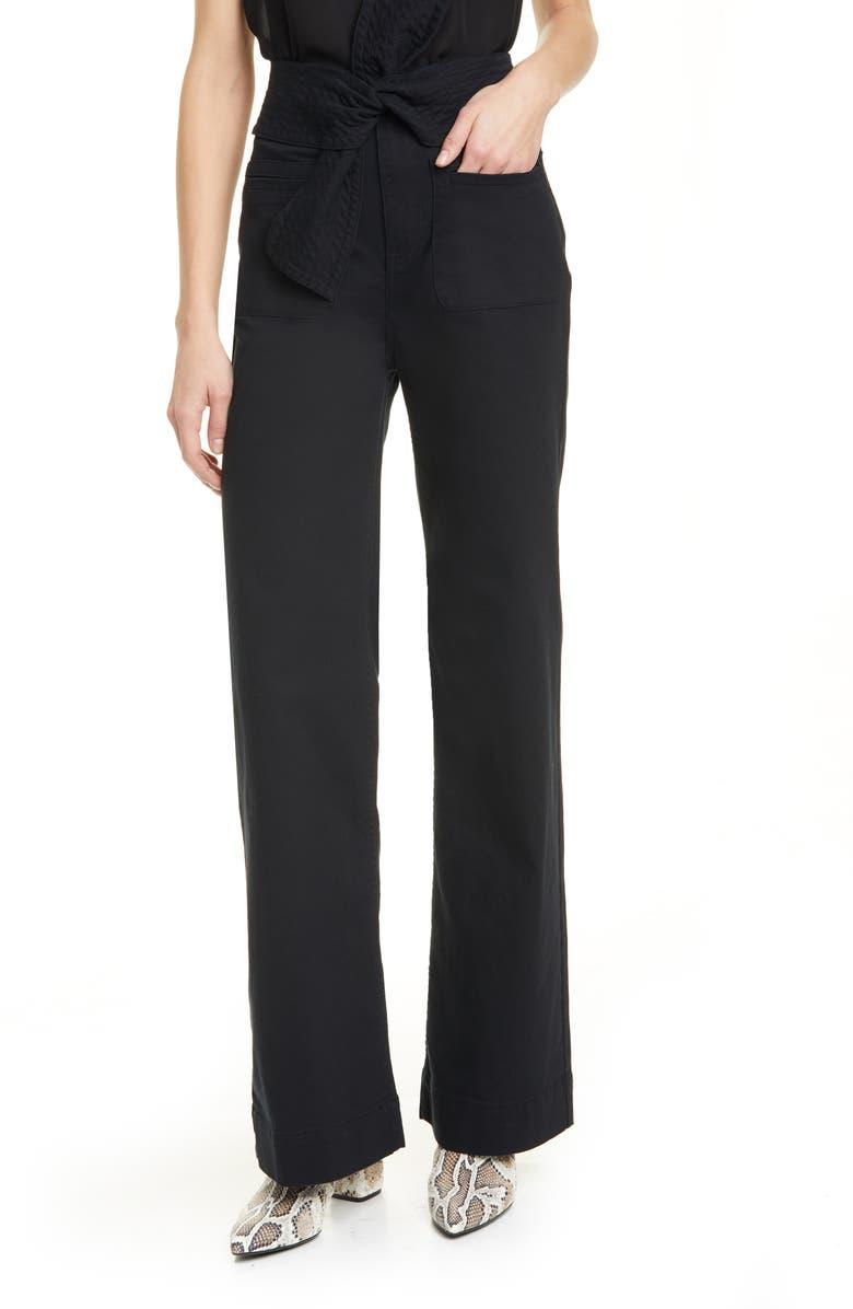 ULLA JOHNSON Wade Tie Waist Jeans, Main, color, NOIR