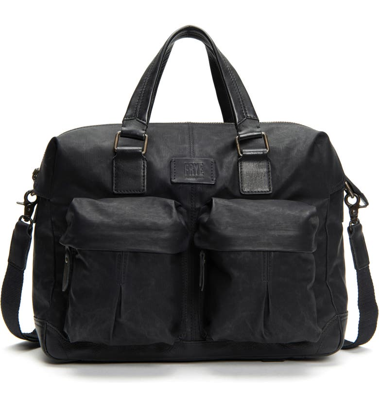 FRYE Scout Canvas & Leather Overnight Bag, Main, color, BLACK
