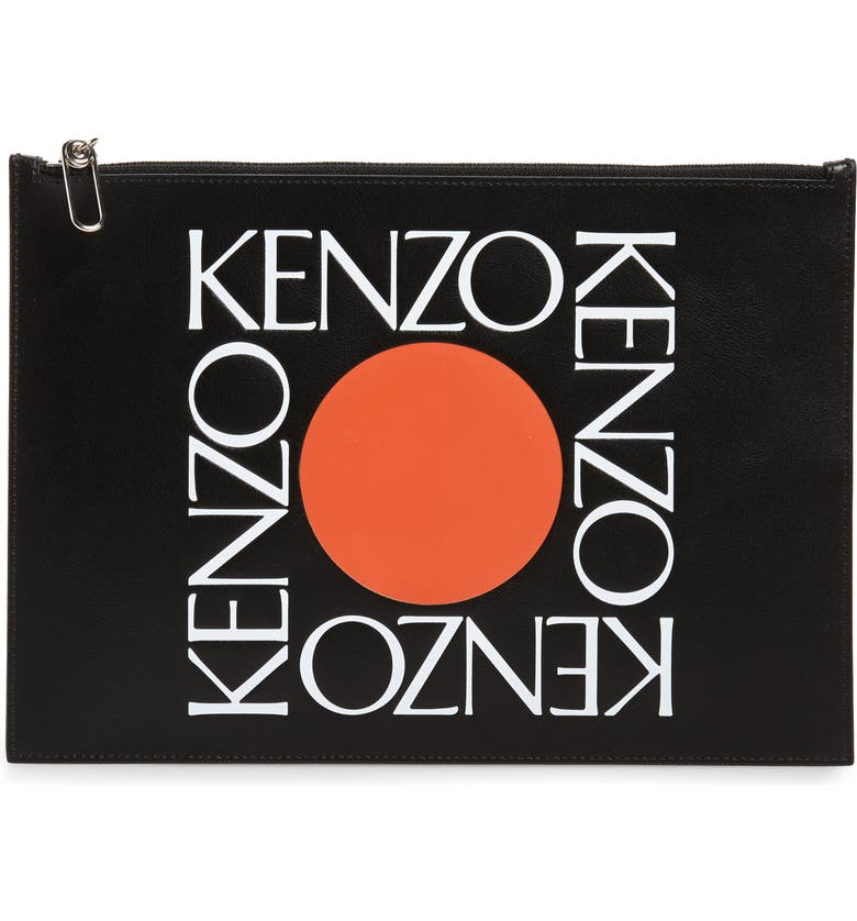 KENZO A4 Leather Zip Pouch, Main, color, 011