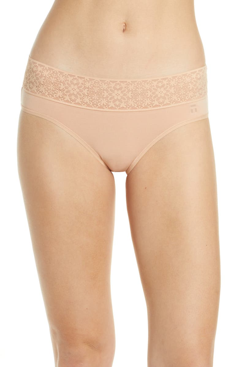 TOMMY JOHN Cool Cotton Lace Briefs, Main, color, MAPLE SUGAR