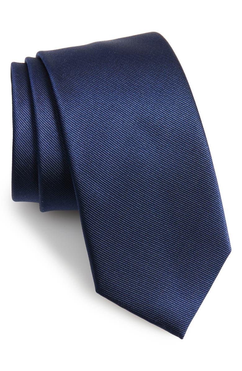 THE TIE BAR Solid Silk Tie, Main, color, NAVY