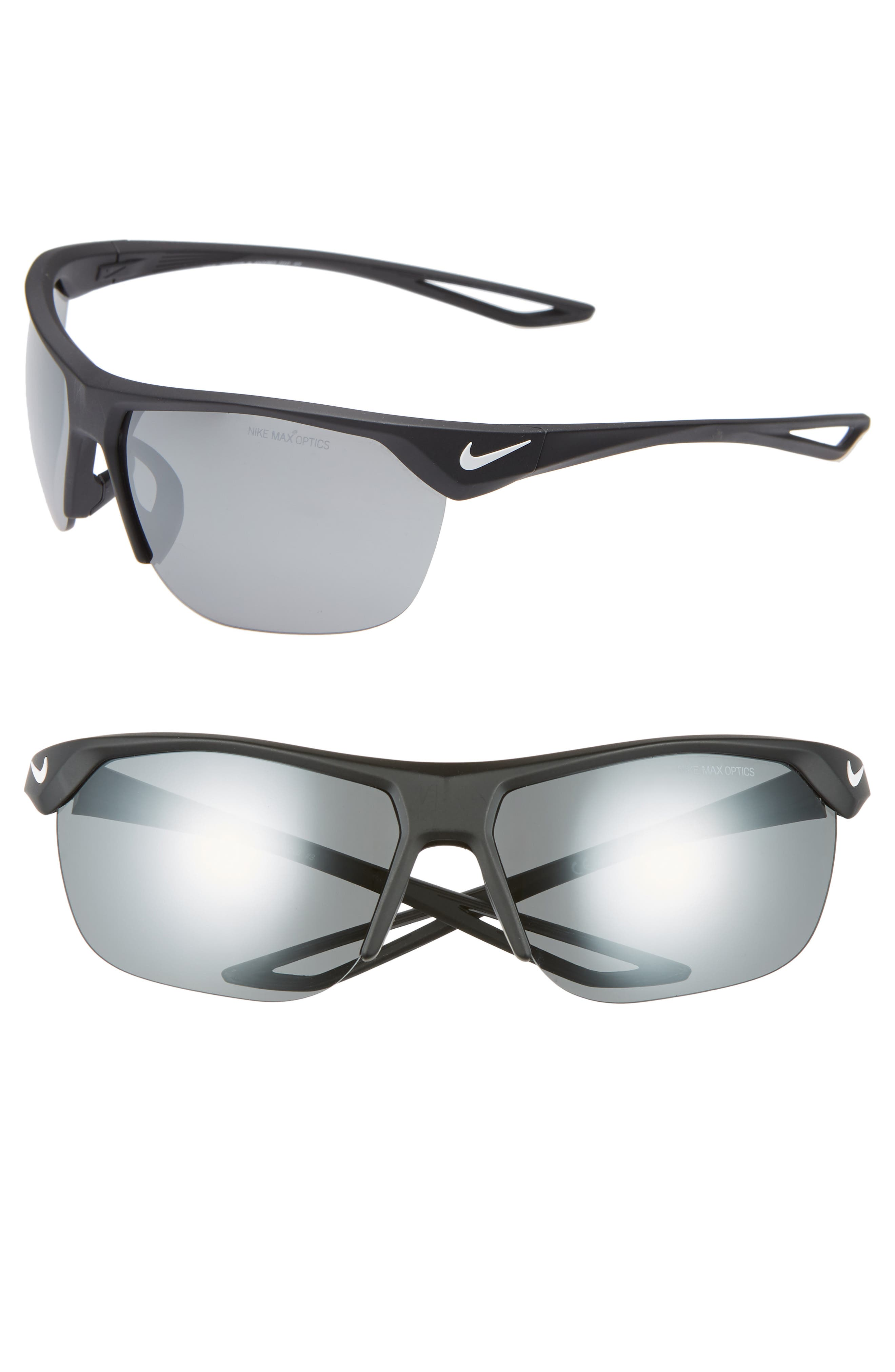 ,                             Trainer 63mm Mirrored Shield Sunglasses,                             Main thumbnail 1, color,                             BLACK/ GREY