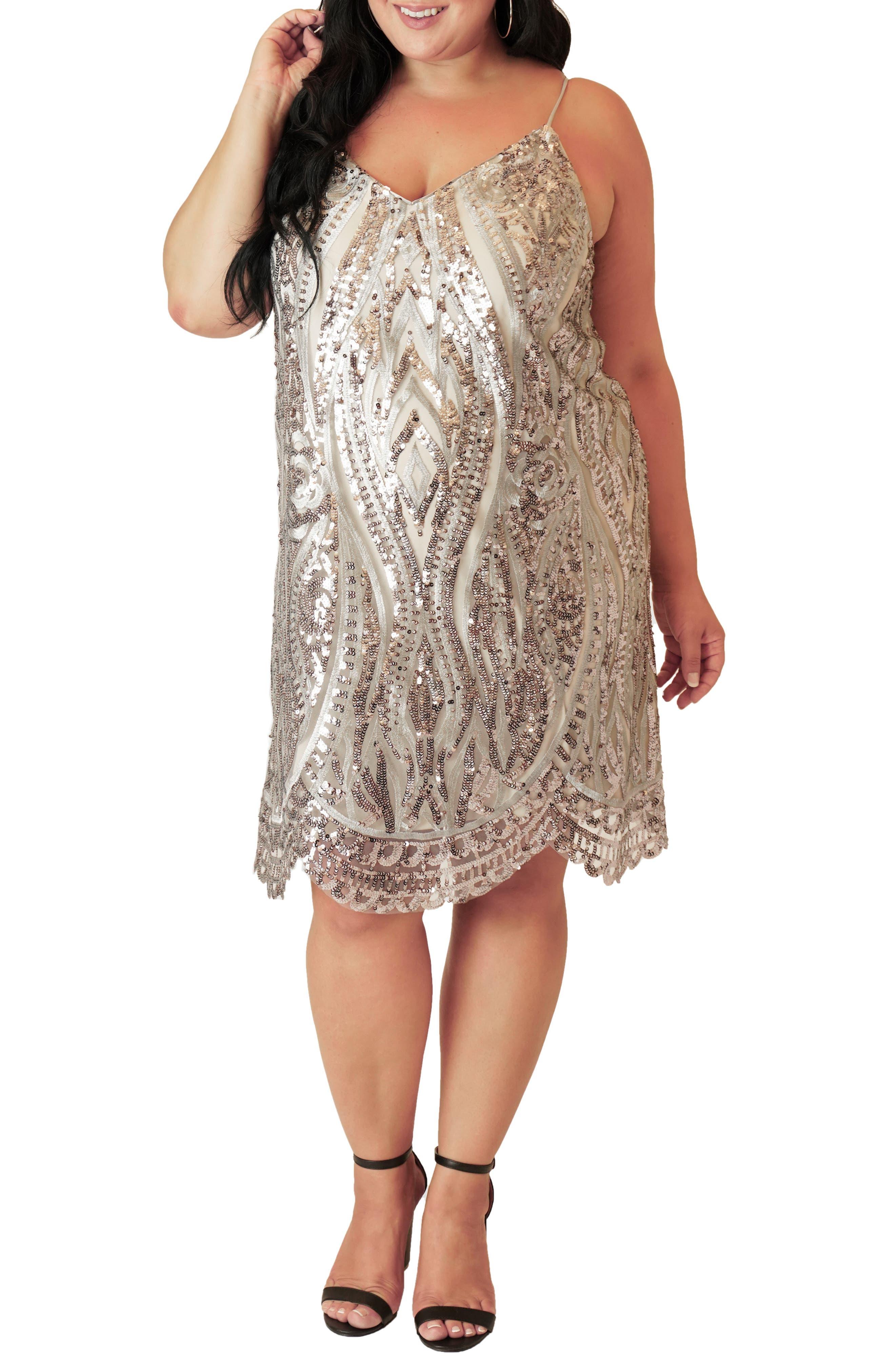 Vintage 1920s Dresses – Where to Buy Plus Size Womens Maree Pour Toi V-Neck Sequin Shift Dress $159.00 AT vintagedancer.com