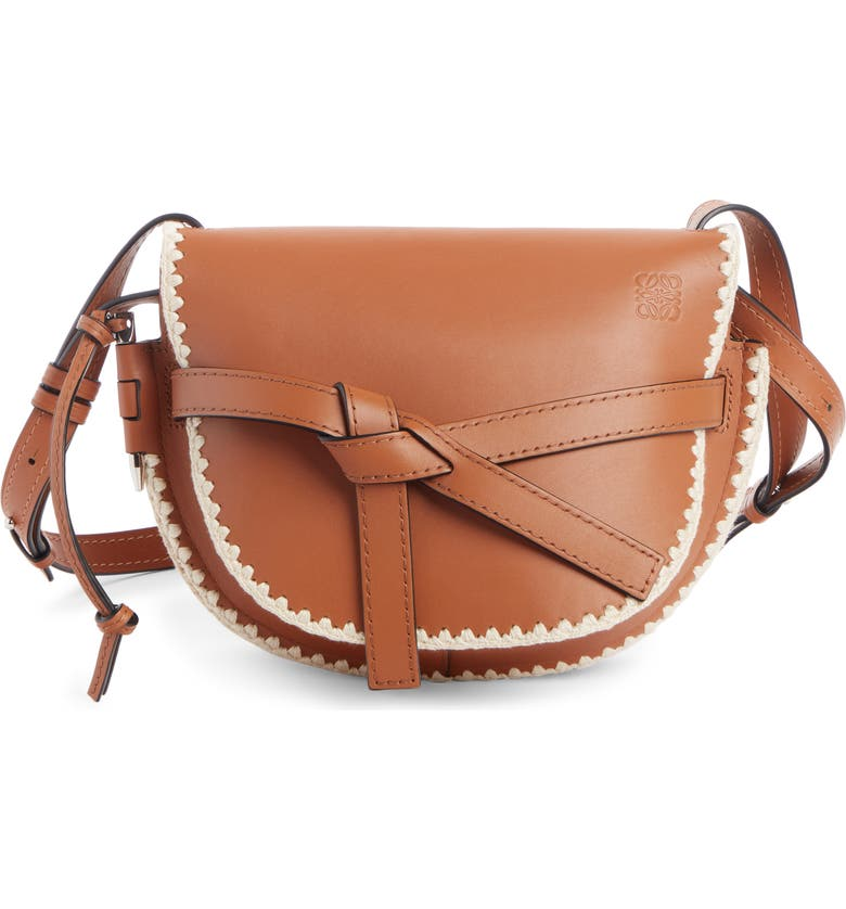LOEWE Small Gate Crochet Leather Crossbody Bag, Main, color, TAN