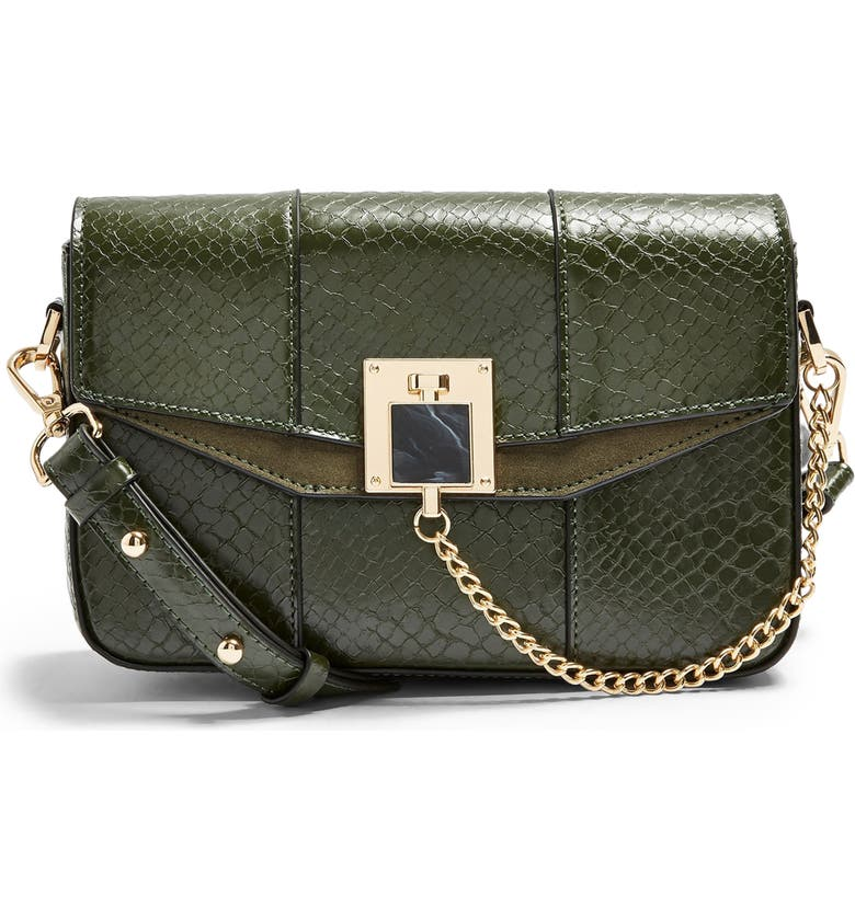 TOPSHOP Crissy Faux Leather Crossbody Bag, Main, color, GREEN