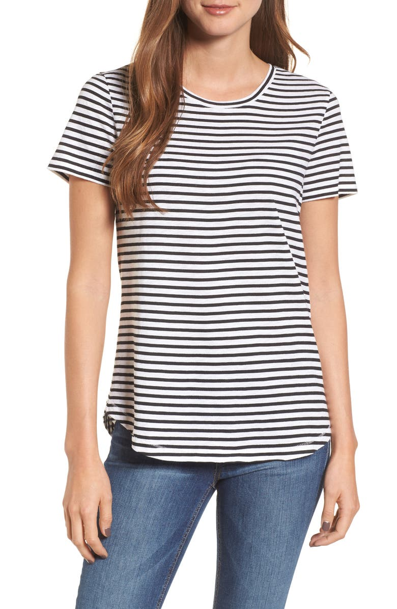 CASLON<SUP>®</SUP> Slub Crewneck Tee, Main, color, IVORY- BLACK STRIPE