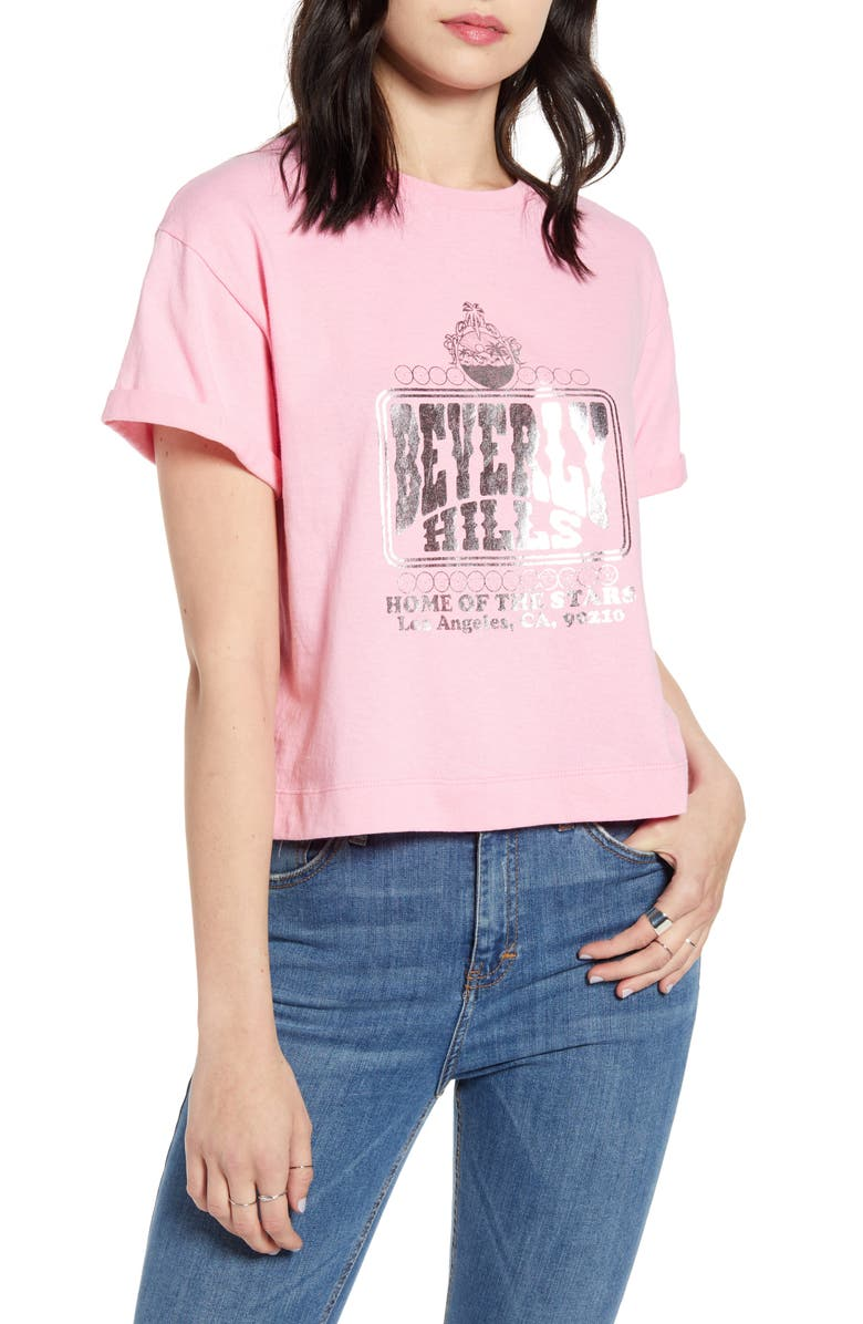 NEEMA CALIFORNIA Jazz Beverly Hills Graphic Crop Tee, Main, color, 650