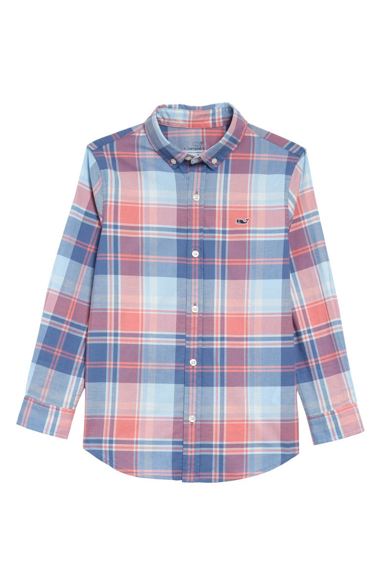 VINEYARD VINES Bimini Island Madras Plaid Whale Button-Down Shirt, Main, color, JETTY RED