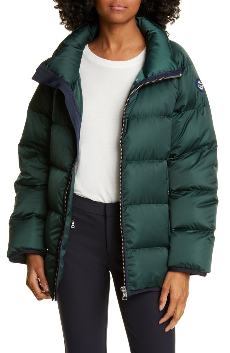TORY SPORT BY TORY BURCH Tory Sport Performance Satin Down Jacket, Main, color, 359