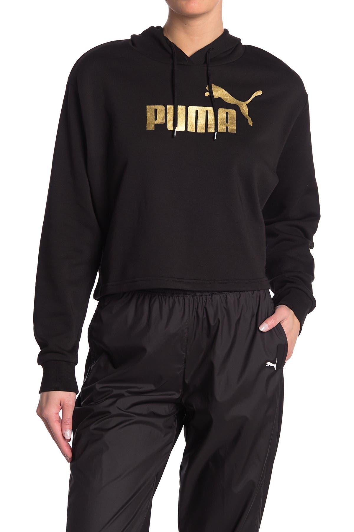 Image of PUMA Essential Metallic Cropped Hoodie