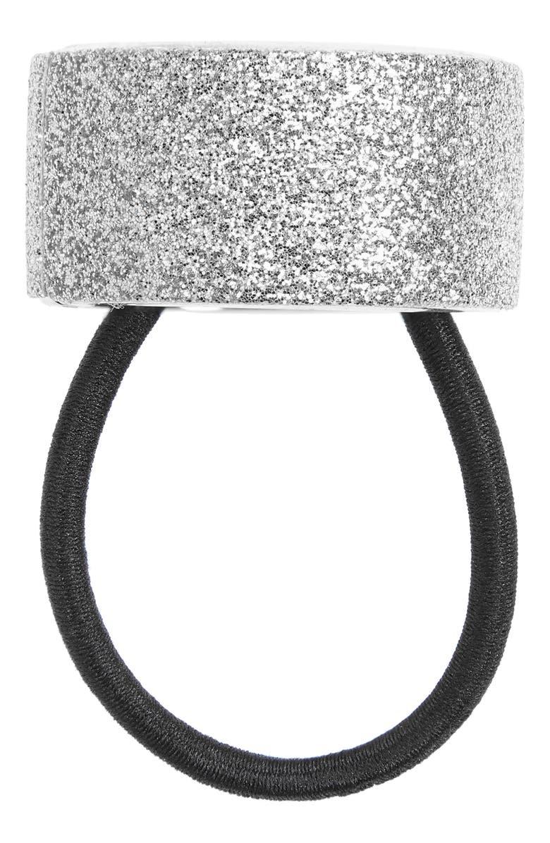 L. ERICKSON Glitter Cuff Ponytail Holder, Main, color, SILVER SPARKLE